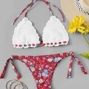 Other - ❤️ JUST IN! Floral Halter Crochet Side Tie Bikini